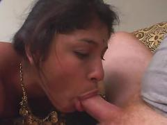Indian woman sucks and fucks two dicks anally