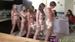 Teen lesbians getting hazed in the kitchen