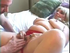 Mature chick gives head