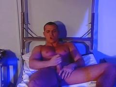 Hot military guy jerking off his hard rock cock at the dorm
