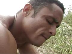 Yummy muscled gay latino studs fucking all day in deserted island