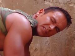 Horny soldiers enjoy hot anal pounding in an empty building