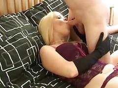 Beautiful blonde in black stockings fucks
