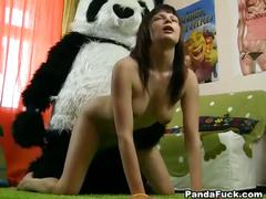 Hardcore strapon sex with panda bear