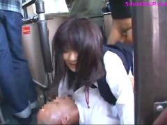 Schoolgirl getting both holes fucked dps by guys on the bus