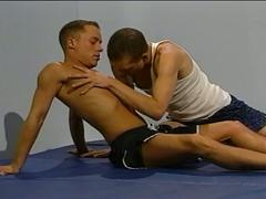 Muscled studs have hot cock sucking and fucking in gym