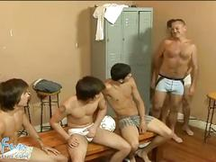 Cock hungry coach in twinky orgy