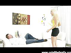 Blonde sister sucks and fucks her new step brother