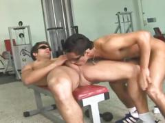 Horny brazilian bodybuilders fucking hard in the gym