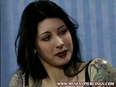 Pierced and tattooed german porn star shows piercings