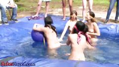 Lesbians in the pool have a nice haze sex scene