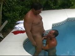 Horny gay dudes fucking hard in the swimming pool