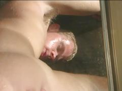 Two hot blonde gay dudes fucking in the shower