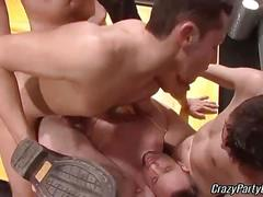 Orgy of horny locker room fucking