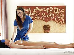 Lovely lesbian gives a french lady a massage