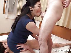 facesitting, threesome, mature, japanese, pantyhose, blowjob, undressing, censored, black hair, japanese matures, all japanese pass