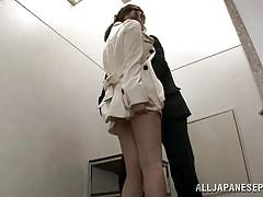 Attractive japanese seduced in a public place
