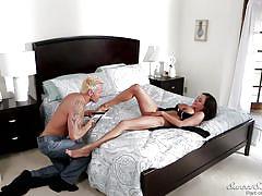 milf, blowjob, busty, eating pussy, brunette, riding cock, in bed, sweet sinner, marcus london, ariella ferrera