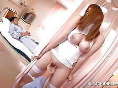 Big breasted nurse gets fingered