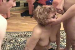 Russian mom is fucked by her son and a friend