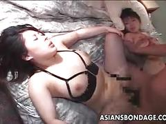 asian, bondage, close-ups, stockings, threesomes