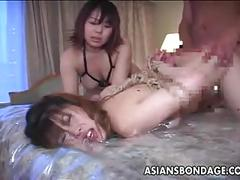 Japanese slavegirl fucked in a bdsm threesome