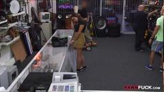 Coed posed on camera and fucked at the pawnshop for cash
