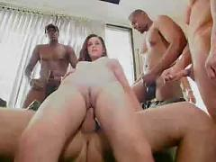 Girl goes home from the car lot for a gangbang