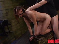 bdsm, babe, blowjob, brunette, dungeon, from behind, choking, hair pulling, ball gag, rodeo sex machine, tied on wall, sexual disgrace, fetish network, zoey foxx