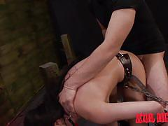 Chained slut gets violated