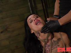 milf, tattoo, bdsm, brunette, dungeon, tied up, mouth fuck, ropes, rodeo sex machine, sexual disgrace, fetish network, alby rydes