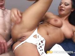 Horny brunette babe loves to play sex games