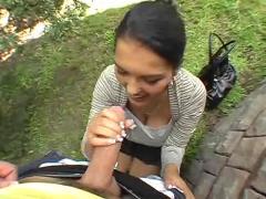 Brunette in public finger ass by troc