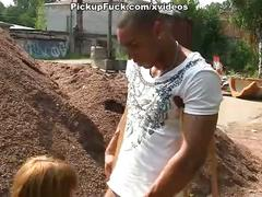 Redhead fuck black man at the construction site of the temple