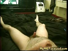 My milf exposed - amateur milf sucking her hubby's cock pov