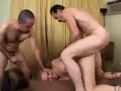 Skinny amateur girl banging two guys