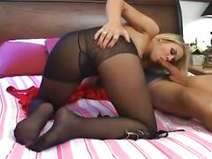 Sophia lynn fucking and footsex in sheer crotchless pantyhose