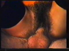 Horny hairy woman fucks in bed (vintage)