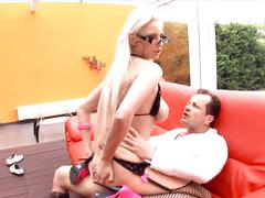 Tall blonde fucking in stockings and stilettos