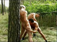 Threeway fucking twinks in the backyard