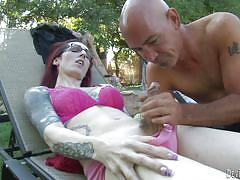 Chilling outdoors with a tranny