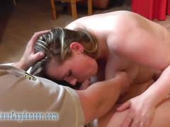 Amateur bbw does wild blowjob and handjob