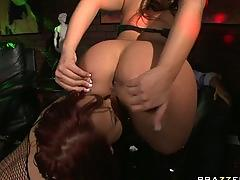 Big tit big ass pornstar strippers fucked anally by bachelor.