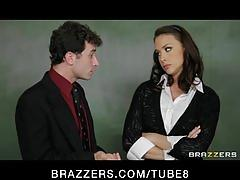 Cute busty school teacher in hot uniform fucks principle's dick