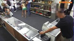 Blonde babe gets to try out  a pawn shop dick
