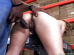 Blonde fucked hard by an ebony cock @ young and dumb