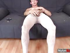 Ccok jerking twink in pantyhose