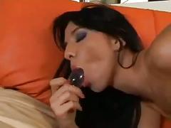 Sexy brunette chick gets penetrated in all her holes at once
