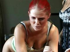Redhead spanked by bitch not stepsister