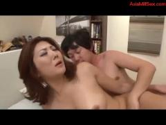 Milf fucked by guy getting creampie on the bed